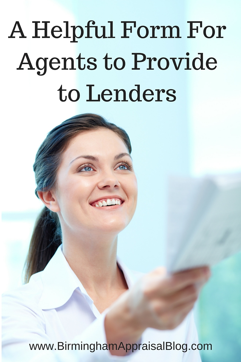 A Helpful Form For Agents to Provide to Lenders