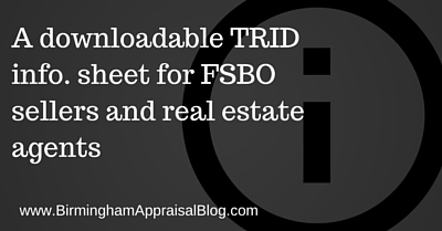 A downloadable TRID info. sheet for FSBO sellers and real estate agents to provide to lenders