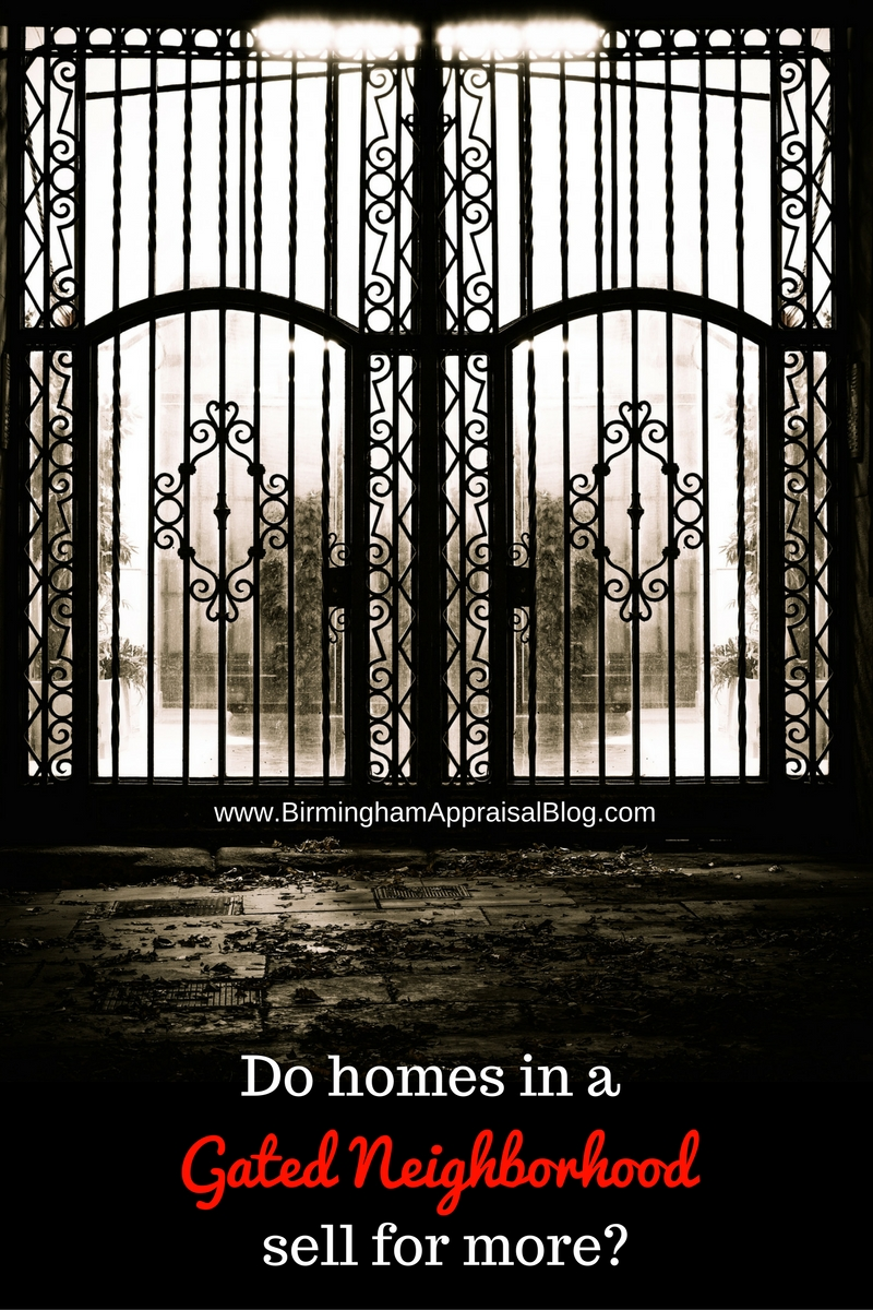 Do homes in a gated neighborhood sell for more